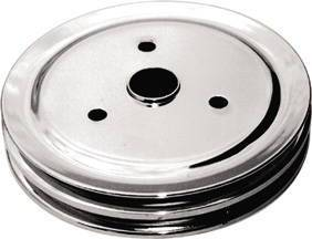 Crank Shaft Pulley - Chrome -Small Block Chevy Double Groove (Short Water Pump) Photo Main