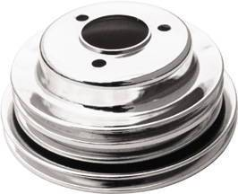 Crank Shaft Pulley, Chrome - Triple Groove -Long Water Pump, Big Block Chevy 396-454 Photo Main
