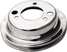 Crank Shaft Pulley - Chrome SB/ Big Block Chevy, Single Groove Add-On Pulley (Long Water Pump) Photo Main