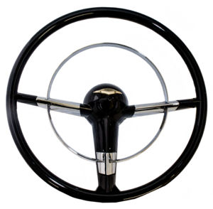 Steering Wheel Black 15''  Replaces Stock 18''  55-56 Chevy Photo Main