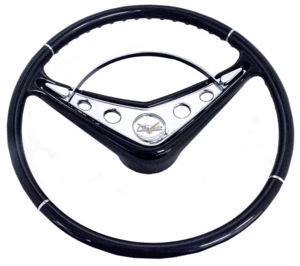 Steering Wheel Black 15''  Replaces Stock 18''  58-60 Chevy Photo Main