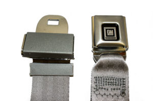 Seat Belt -Lap Belt With Chrome/Silver GM Push Button Style Buckle. Many Colors Available Photo Main