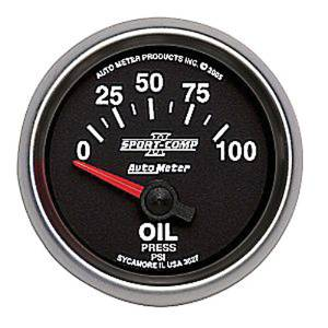 "Instrument Gauges - Auto Meter Sport Comp II 2-1/16"" Oil Pressure Gauge. Mechanical 0-100 Psi, Short Sweep Photo Main"
