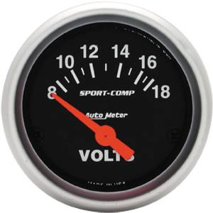 "Instrument Gauges - Auto Meter Sport Comp Series 2-1/16"" Voltage Gauge. Electric 8-18 Volts, Short Sweep Photo Main"