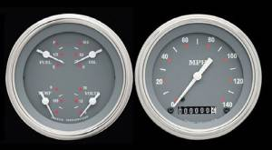 Instrument Gauges - (2 Gauge Set) - Silver-Grey Series With Flat Lens 12v Photo Main