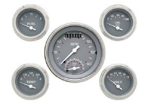 "Instrument Gauges - Ultimate Speedometer (3-3/8"") Speedo Tach Combo With 4 Gauges - Silver-Grey Series With Flat Lens 12v Photo Main"