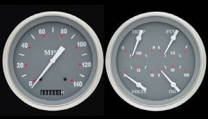 "Instrument Gauges - 5"" Speedo & Quad-Cluster - Silver-Grey Series With Curved Lens 12v Photo Main"