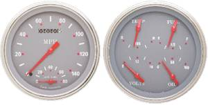 Instrument Gauges - Speedtachular Speedo Tach Combo With Quad Gauge - Silver-Grey Series With Flat Lens 12v Photo Main