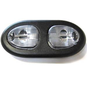 Interior Light -Oval, Double Dome, Universal With Black Bezel & Clear Lens Photo Main