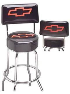Bar Stool With Chevrolet Bowtie -Swivel With Backrest Photo Main