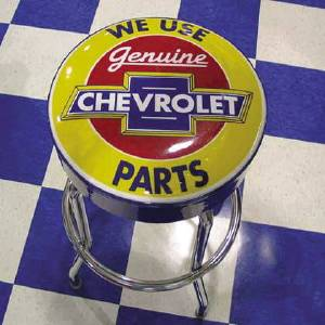 Bar Stool With Chevrolet Parts Logo -Swivel Photo Main