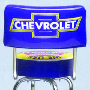 Bar Stool With Chevrolet Parts Logo -Swivel With Backrest Photo Main