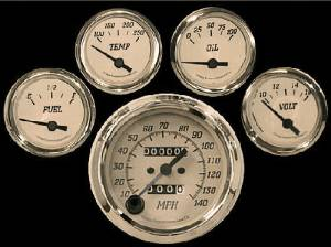 Instrument Gauges, 5 Gauge Tan Face. Mechanical Speedo Photo Main