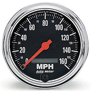 "Instrument Gauges - Auto Meter Traditional Chrome Series 3-3/8"" 0-160 Mph Electronic Programmable Speedometer Photo Main"