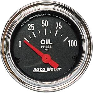 "Instrument Gauges - Auto Meter Traditional Chrome Series 2-1/16"" Oil Pressure Gauge. Electric 0-100 Psi., Short Sweep Photo Main"