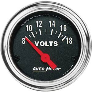 "Instrument Gauges - Auto Meter Traditional Chrome Series 2-1/16"" Voltage Gauge. Electric 8-18 Volts, Short Sweep Photo Main"