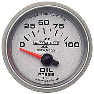 "Instrument Gauges - Auto Meter Ultra Lite Ii 2-1/16"" Oil Pressure Gauge. Electric 0-100 Psi, Short Sweep Photo Main"