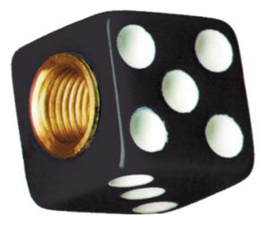 Dice Valve Stem Caps - Black With White Dots Photo Main