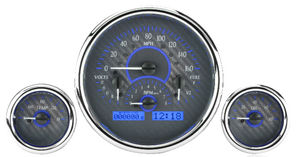 Dakota Digital - VHX Universal 3 Round Gauge System With Chrome Bezel Carbon Fiber Style Face - Blue Backlight Photo Main