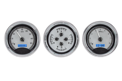 "Dakota Digital - VHX Universal 3 5"" Gauge System With Chrome Bezel Alloy Style Face - Blue Backlight Photo Main"