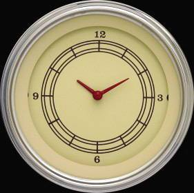 "Instrument Gauges - Clock With Reset Button - Vintage Series - Flat Lens (3-3/8"" Dia.) 12v Photo Main"