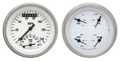 "Instrument Gauges - Ultimate Speedometer (3-3/8"") Speedo Tach Combo With 4 Gauges - White Hot Series With Flat Lens 12v Photo Main"