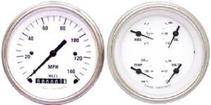 "Instrument Gauges - 5"" Speedo & Quad-Cluster - White Hot Series With Flat Lens 12v Photo Main"