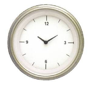 "Instrument Gauges - Clock With Reset Button - White Hot Series - Flat Lens (3-3/8"" Dia.) 12v Photo Main"
