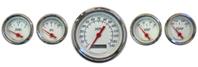 Instrument Gauges - (5 Gauge Set), Electronic Speedo, White Face - Metric Photo Main