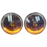 Parts -  7 Inch, 12 Volt Headlight H-4 Halogens With Multi Color LED Halo, Amber Turn Signals, Includes Remote