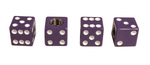 Parts -  Dice Valve Stem Caps - Purple With White Dots